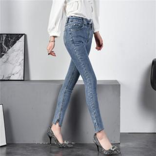 新薇丽(Sum Rayleigh)牛仔裤女2019春季新款 高腰显瘦韩版不规则铅笔裤九分 KXLF2016 蓝色 2XL