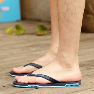 Nan ji ren 南极人 男士时尚简约夹脚户外沙滩情侣款人字拖鞋 JRLHH8851 男款蓝色 44