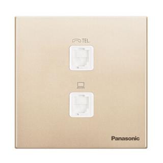松下( Panasonic) 开关插座面板 电脑电话插座面板 2孔电脑 电话墙壁弱电插座 悦宸86型 WMWM415MYZ 金色