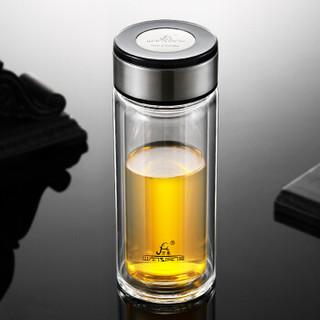 万象(WANXIANG)玻璃杯 V99 410ML双层车载水杯 商务办公泡茶杯 便携式运动杯 高硼硅玻璃杯 黑色