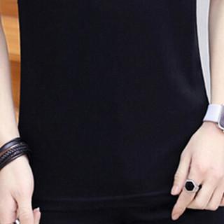 金盾(KIN DON)短袖T恤 2019夏季新款男士休闲立领纯色短袖T恤QT809-T179黑色M