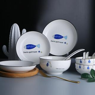敏杨 餐具套装陶瓷碗碟套装碗盘子碟套装微波炉年年有鱼28头