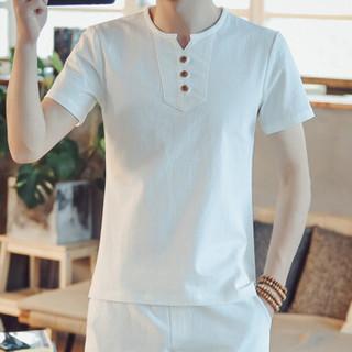 金盾(KIN DON)短袖T恤 2019夏季新款男士时尚百搭V领短袖T恤A082-T187白色M