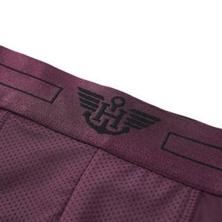 HLA 海澜之家 短裤男新品时尚休闲中腰针织平角内裤 HUKAJ1R027A 紫红镶拼(27)165/90(M) (紫色、M、平角裤、其它)