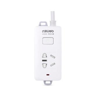 得力 插座/插排插/线板 得力(deli)18277-02 16A4000W热水器/空调2米延长线插座(白)