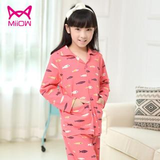 猫人(MiiOW)儿童睡衣纯棉长袖短袖春夏季女孩中大童童装家居服套装 粉色小鱼 170