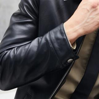 比菲力(BEVERRY)2018秋季新款翻领皮衣男头层绵羊皮海宁皮夹克男士皮衣外套 ZYPY002 黑色夹棉款 XL