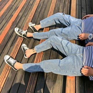 BANDALY 2019夏季新款女装新品牛仔裤情侣九分chic韩版小直筒牛仔裤潮 yzC310-K167 浅蓝色 男L