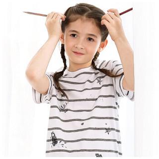 红豆居家(Hodohome)春夏男女童短袖套装中大童睡衣条纹休闲薄款居家服套装女童条纹140/64
