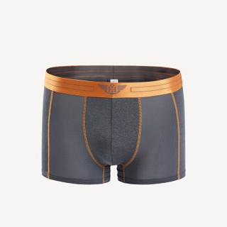 HLA 海澜之家 针织平脚短裤新品撞色舒适男士内裤  HUKAJ1R026A 深灰镶拼(26)170/95(L) (灰色、L、平角裤、其他)