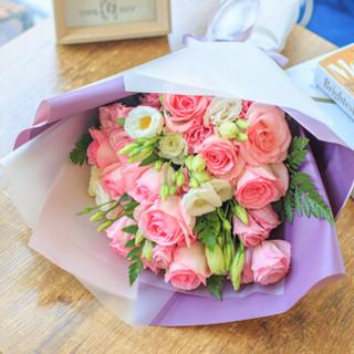 钟爱 情人节 11朵粉玫瑰花束 鲜花速递全国 生日礼物 女生 北京上海广州同城花店送花