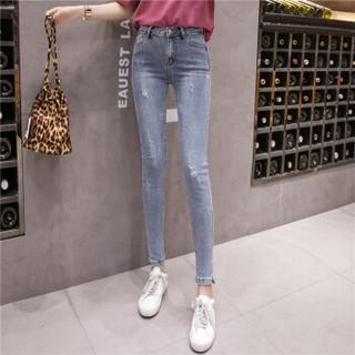 新薇丽(Sum Rayleigh)破洞铅笔裤 2019新款时尚百搭高弹显瘦气质牛仔裤 AZJZ8830 浅蓝色 L