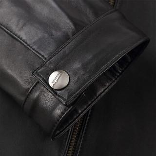 比菲力(BEVERRY)2018秋季新款立领绵羊皮衣男海宁皮夹克修身绵羊皮外套男士 黑色夹棉 4XL