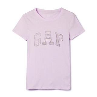 Gap旗舰店 女装棉质短袖T恤柔软弹力圆领内搭logo上衣女士打底衫 355266 粉紫色 M