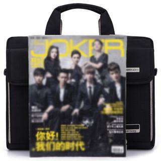 英制 BRINCH 时尚电脑包通用流行款公文包商务休闲14.6英寸苹果联想戴尔小米单肩手提笔记本包BW-216 黑色
