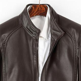 比菲力(BEVERRY)2018秋季新款男士皮衣海宁绵羊皮皮夹克短款立领单皮外套韩版修身潮ZYPY004 黑色 XL