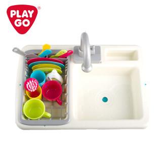 playgo贝乐高男孩玩具女孩做饭玩具水槽切水果玩具仿真过家家儿童厨房玩具迷你厨房儿童玩具洗碗小水池 3600
