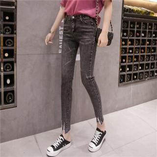 新薇丽(Sum Rayleigh)不规则毛边牛仔裤 2019年新款时尚百搭高弹显瘦气质铅笔裤 AZJZ57011 深灰色 S