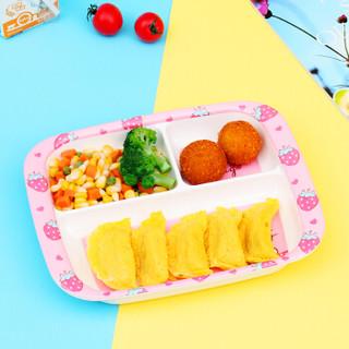 盛广达长方形卡通密胺餐盘 三分格设计,水果、蔬菜、饭菜分格盘