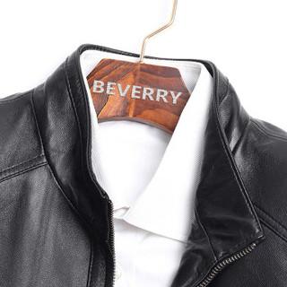 比菲力(BEVERRY)2018秋季新款海宁绵羊皮皮衣男士机车皮夹克外套修身韩版潮帅气 ZYPY003 黑色夹棉款 M