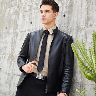 比菲力(BEVERRY)2018秋季新款立领绵羊皮衣男海宁皮夹克修身绵羊皮外套男士 香槟色 4XL