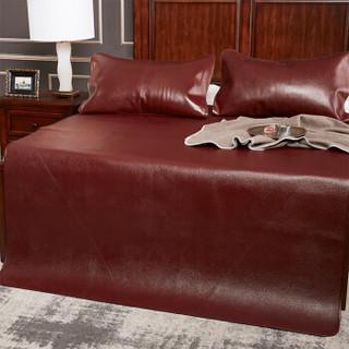 雅鹿·自由自在 牛皮席 水牛皮凉席软席加大可折叠双人牛皮席子(不含枕套)180*198cm 棕红色软席