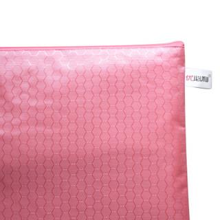 优必利 防水拉链文件袋 帆布文件资料收纳袋 手提袋办公用品 学生文具袋拉链票据袋10个装 粉红色