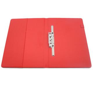 晨好(ch)红色皮面签约夹 签约本 A4商务合同文件夹 带铁夹