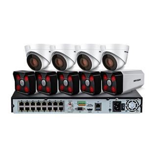 海康威视摄像头监控设备套装200万网络高清探测器红外50米带POE供电 9路带4TB硬盘