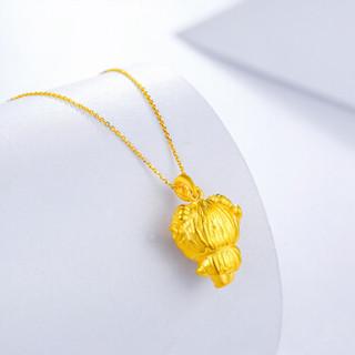 周六福 珠宝福运生肖系列3D硬金足金活力羊黄金吊坠 不含链定价 AD042761 约1.9g