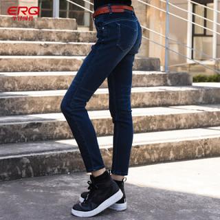 ERQ2018女士牛仔裤新品秋冬保暖磨毛中腰窄脚弹力休闲潮流小脚裤 蓝色 25
