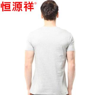 恒源祥 男士背心男纯棉短袖T恤运动弹力修身男式打底汗衫 花灰 170/95