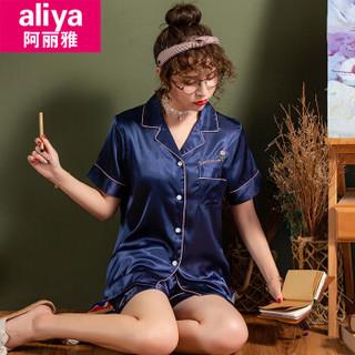 阿丽雅睡衣男冰丝夏季薄款短袖短裤男士仿真丝绸情侣睡衣女士家居服套装 ALY20062JD-13 女藏青玫瑰短袖 XL
