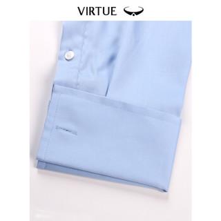 Virtue富绅贡缎丝光棉免烫法式衬衫商务正装男礼服纯棉长袖衬衣YCM60242017温莎浅蓝 44