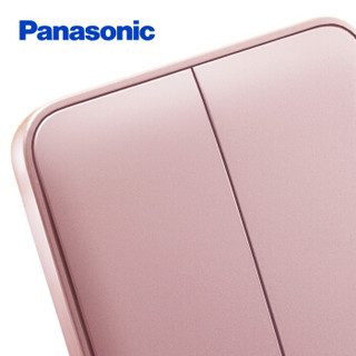 松下( Panasonic)开关插座面板 二开双控开关面板 双开双控墙壁开关 格彩系列86型  WPC504MYL 玫瑰金色