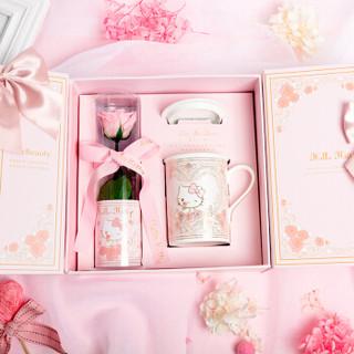 HELLO KITTY鲜花速递玫瑰花永生花礼盒520情人节鲜花礼物生日礼物送女生送女友 永生花+骨瓷水杯