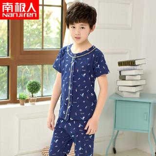 南极人(Nanjiren)儿童家居服男童女童短袖睡衣夏季薄款中大童衣服可爱卡通款 男童短袖深蓝小狗 120
