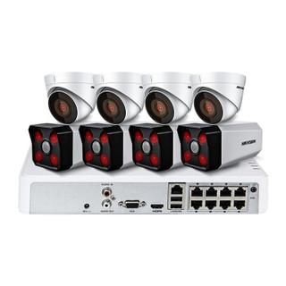 海康威视摄像头监控设备套装200万网络高清探测器红外50米带POE供电 8路带2TB硬盘