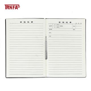 信发(TRNFA)商务工作会议记录本 A5时尚记事本/软皮面笔记本 随身携带工作本办公文具 黑色