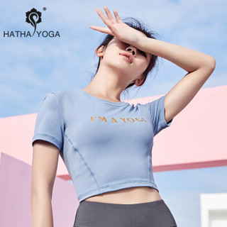 哈他瑜伽服女健身房专业时尚速干运动衣星迹2019新款健身服  T恤(星蓝) L