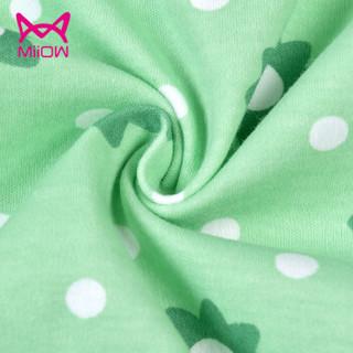 猫人(MiiOW)儿童睡衣纯棉长袖短袖春夏季女孩中大童童装家居服套装 绿色花朵 130