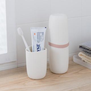 香柚小镇 旅行洗漱杯创意牙刷杯便携式牙刷盒漱口杯套装简约牙膏收纳刷牙杯 典雅粉