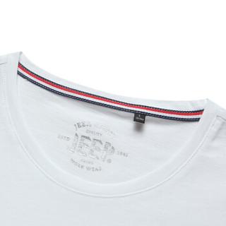 吉普(JEEP)短袖T恤男舒适休闲青年男士纯棉印花圆领半袖2019夏季新品 1938 粉色 L