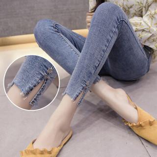 新薇丽(Sum Rayleigh)优雅铅笔长裤 2019年新款时尚百搭高弹显瘦气质牛仔裤 AZJZ6815 黑色 M