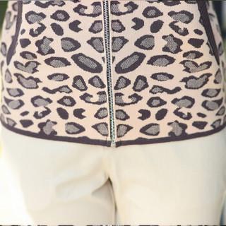 恒源祥春季新款中老年妈妈外套女短款时尚洋气拉链上衣豹纹夹克 酒红 175/96A/XXL