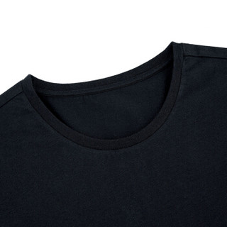 HLA海澜之家短袖T恤男2019春季新品圆领亲肤舒适男士打底汗衫HUAAJ1R007A黑色07185/110(XXXL)