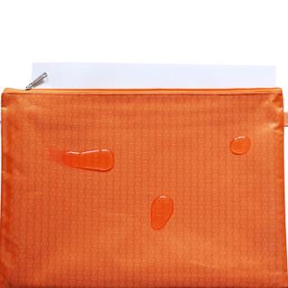 优必利 防水拉链文件袋 帆布文件资料收纳袋 手提袋办公用品 学生文具袋拉链票据袋10个装 橙色