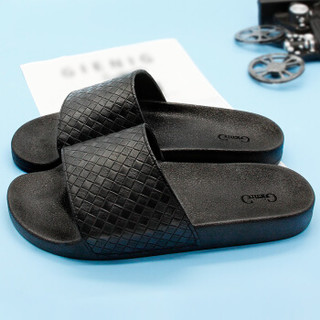 GieniG 家居浴室厚底居家洗澡户外沙滩简约凉拖鞋男款 GI170101 靓黑 40码