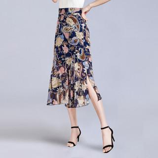 她池春装女新款中长款印花雪纺优雅包臀开叉下摆荷叶边半身裙 T91Z0288A28XL  花色 XL