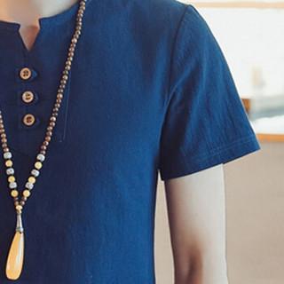 金盾(KIN DON)短袖T恤 2019夏季新款男士时尚百搭V领短袖T恤A082-T187藏青色XL